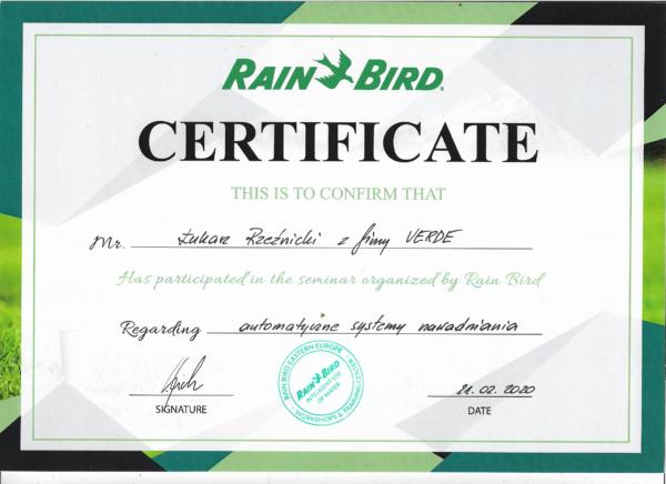 rainbird certyfikat lukas