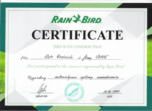 rainbird certyfikat piotr